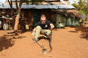 Dominic Monaghan & spitting cobra (Naja Ashei) near Watamu, Kenya