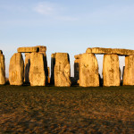 Picture Shows: The Stonehenge rock formation with the sun hitting the face of the rocks.