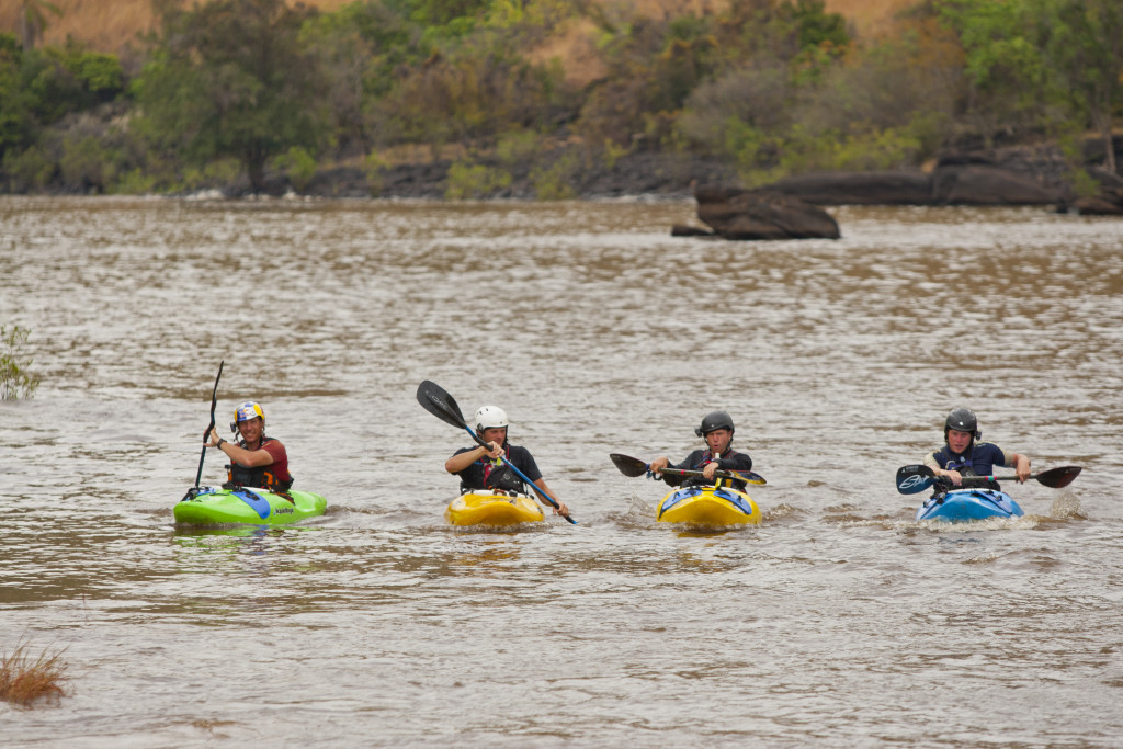 The Congo White Water Kayking Expedition team (Steve Fisher, Tyler Bradt, Ben Marr, Rush Sturges) paddle home after sucessfully navigating the class V+ to VI Inga Rapids, on the Congo River, Democratic Republic of Congo, Africa, on 28 October 2011. // Greg von Doersten/Red Bull Content Pool // P-20120702-00523 // Usage for editorial use only // Please go to www.redbullcontentpool.com for further information. //