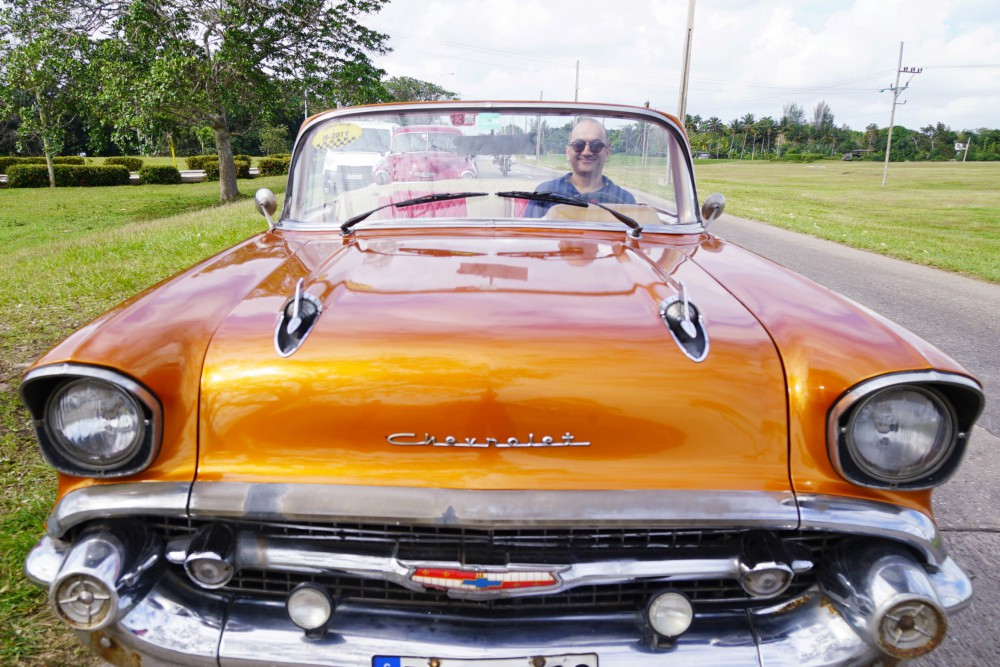 Picture Shows: Rajan Datar driving a classic car in Havana, Cuba during the Travel Show filming