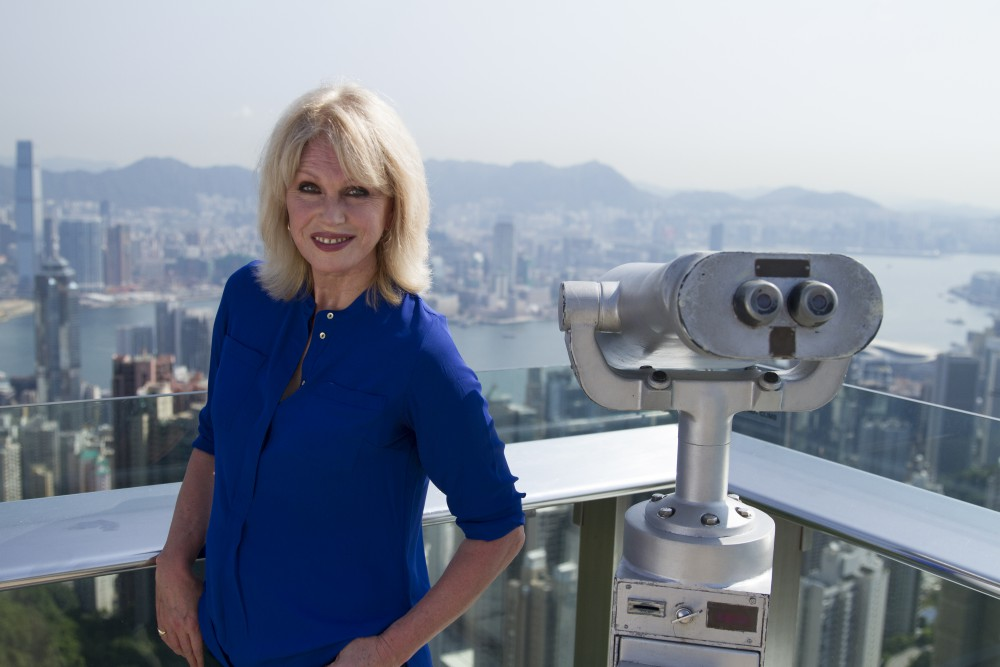 Episode One_Joanna Lumley on top of Victoria Peak in Hong Kong at the start of her Trans-Siberian Adventure