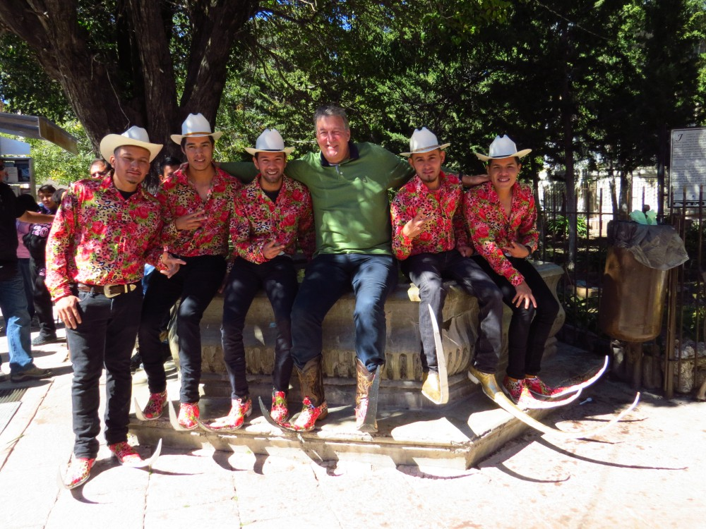 Picture Shows: Stephen with pointy boots men, Real de Catorce, Mexico