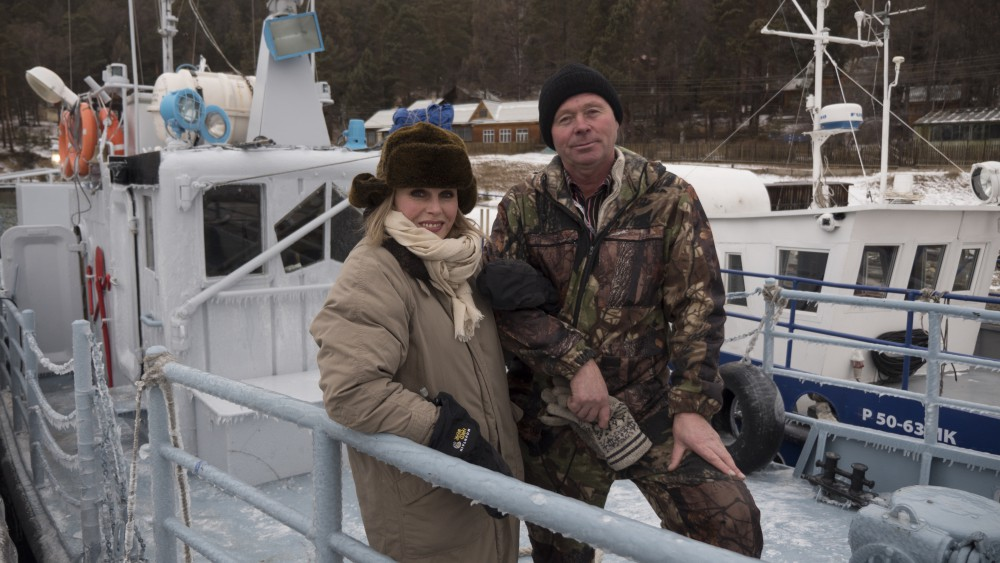 Episode Three_Joanna Lumley with fisherman Sergey Veschev