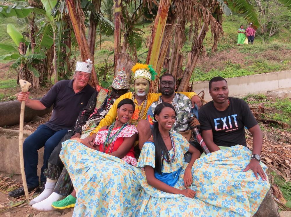 Episode 4_Costa Rica to Panama Picture Shows: Stephen with Congos of Portobelo dancers, Portobelo, Panama