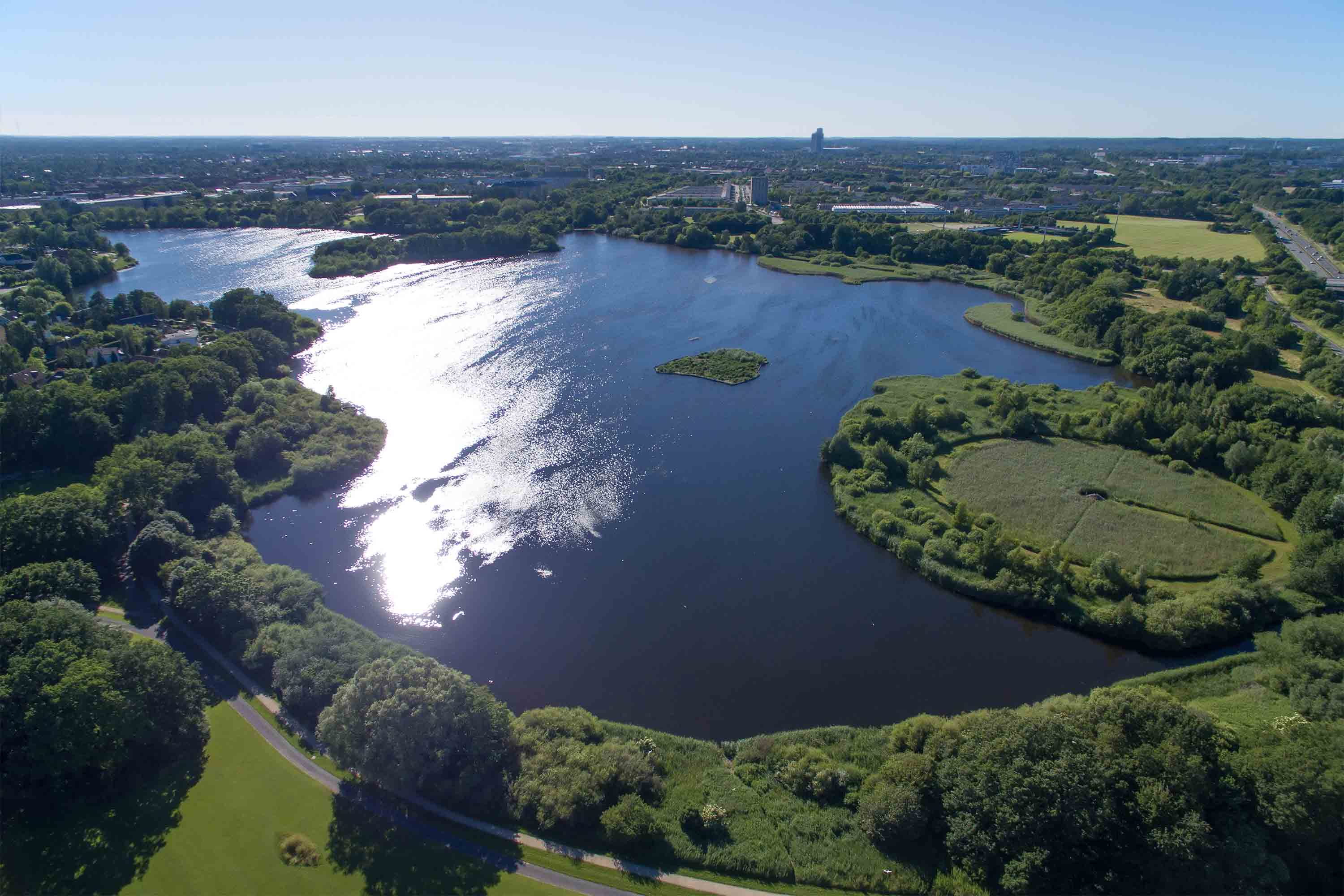 aerial view of utterslev mire part 1 located in zealand denmark